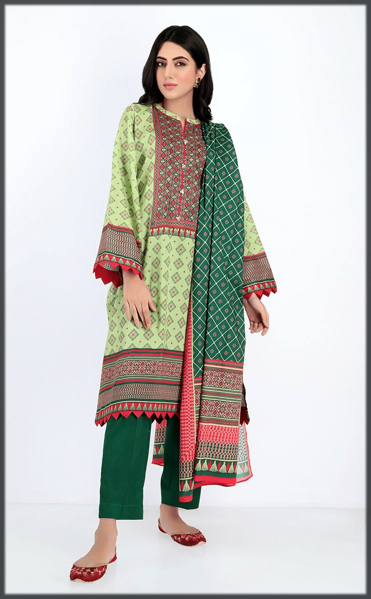 green shades slay eid dress