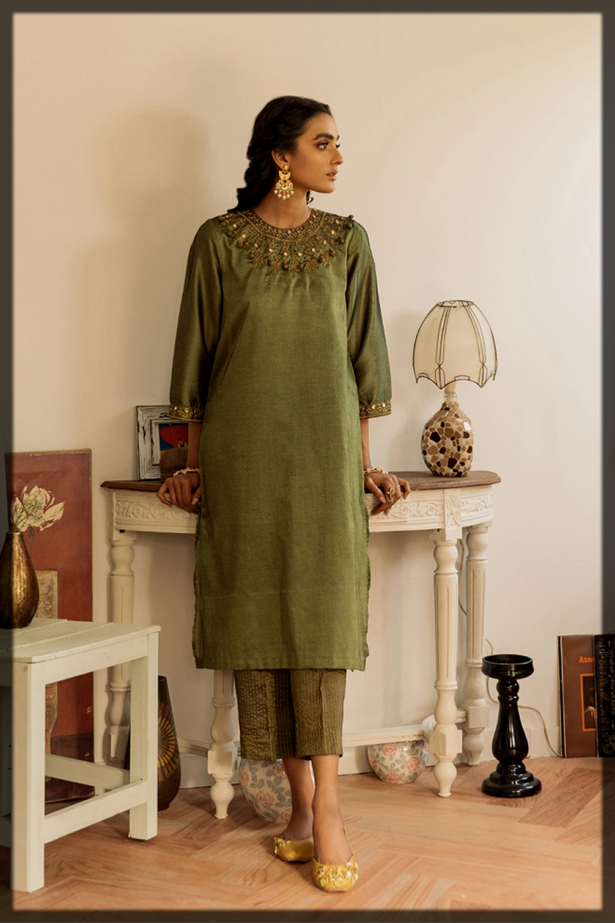 latest green shaded ethnic by outfitters eid collection