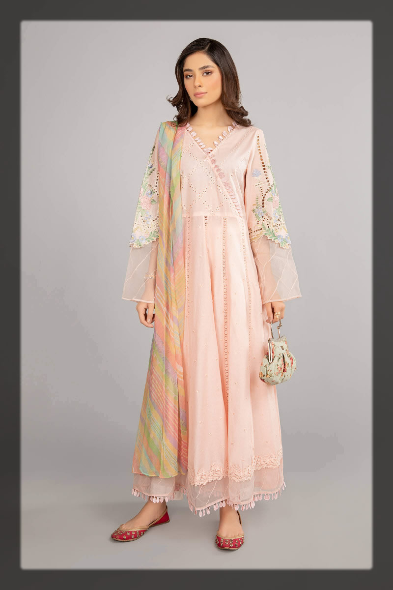 light pink angrakha style frock