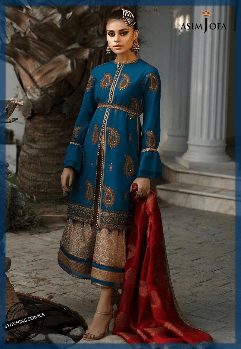 lovely blue pakistani party dresses