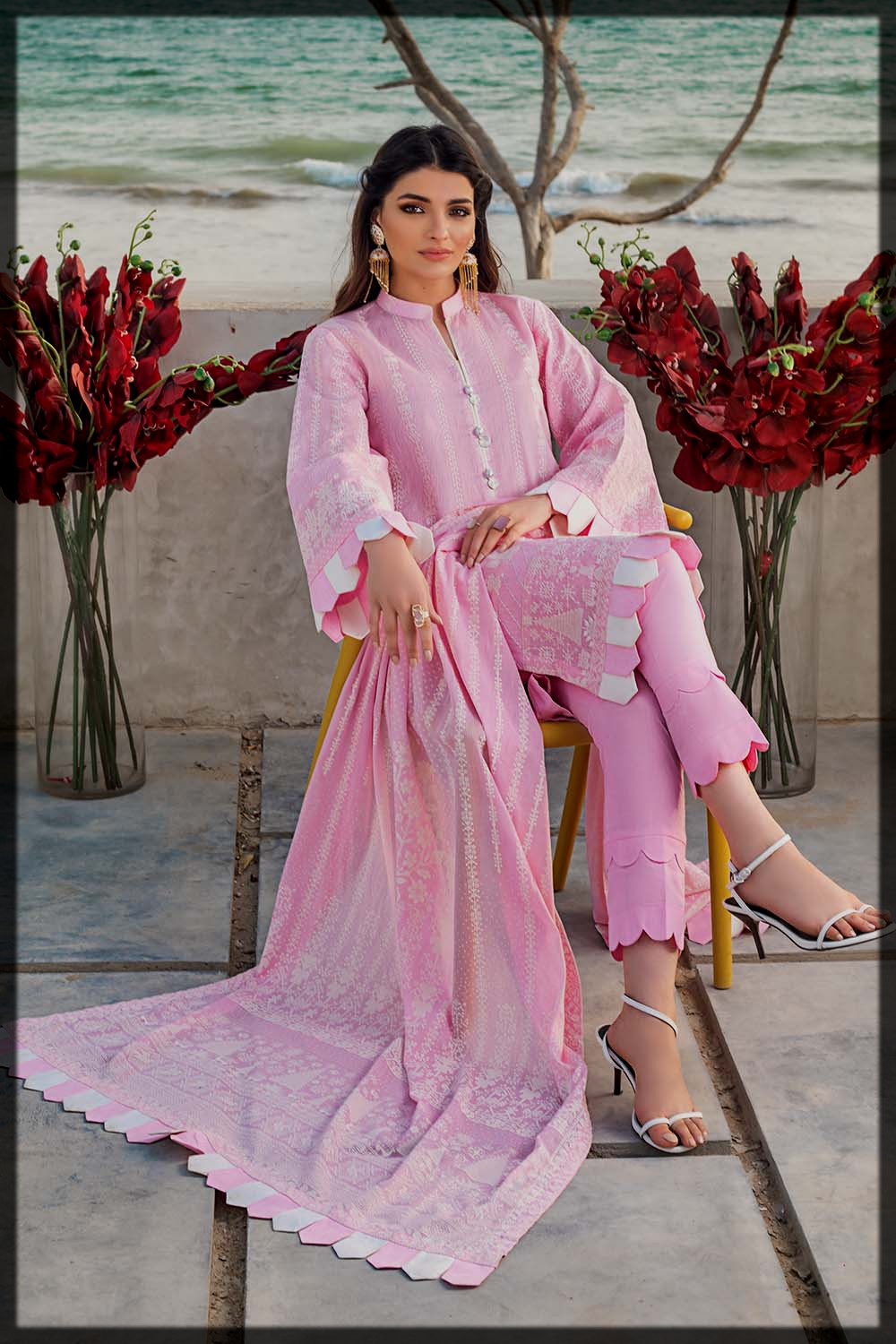 lovely pink eid suit for ladies