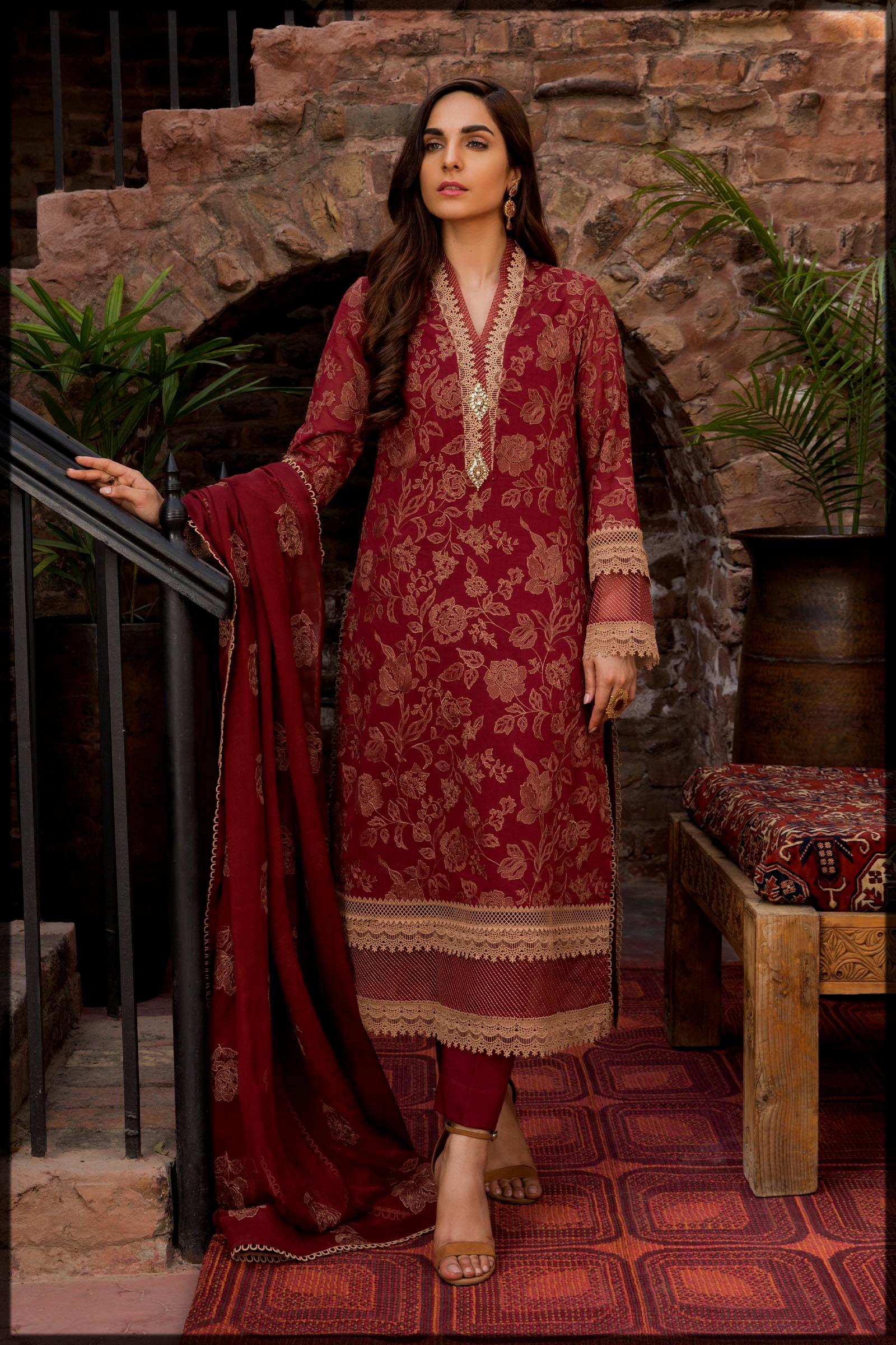 maroon eid suit for women