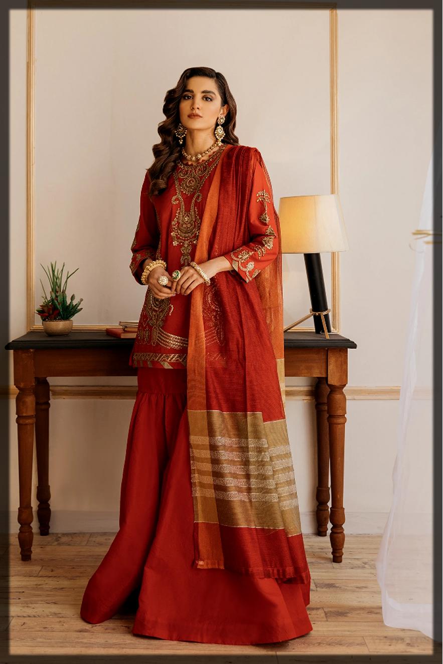 maroon sequins work eid outfit