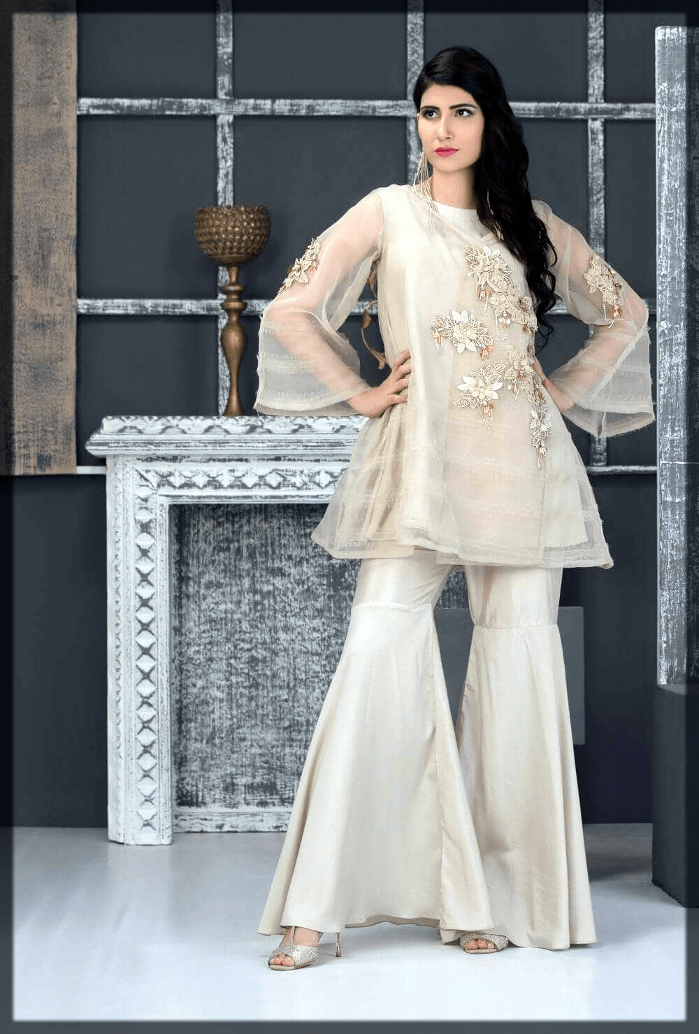 off white alluring party wear dress