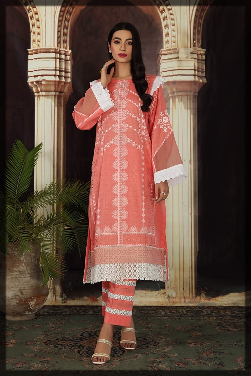 pink embroidered lawn dress