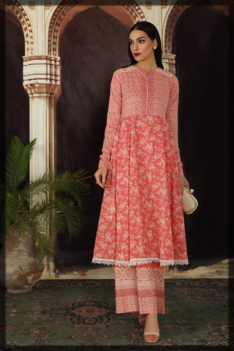 pink printed lawn suit