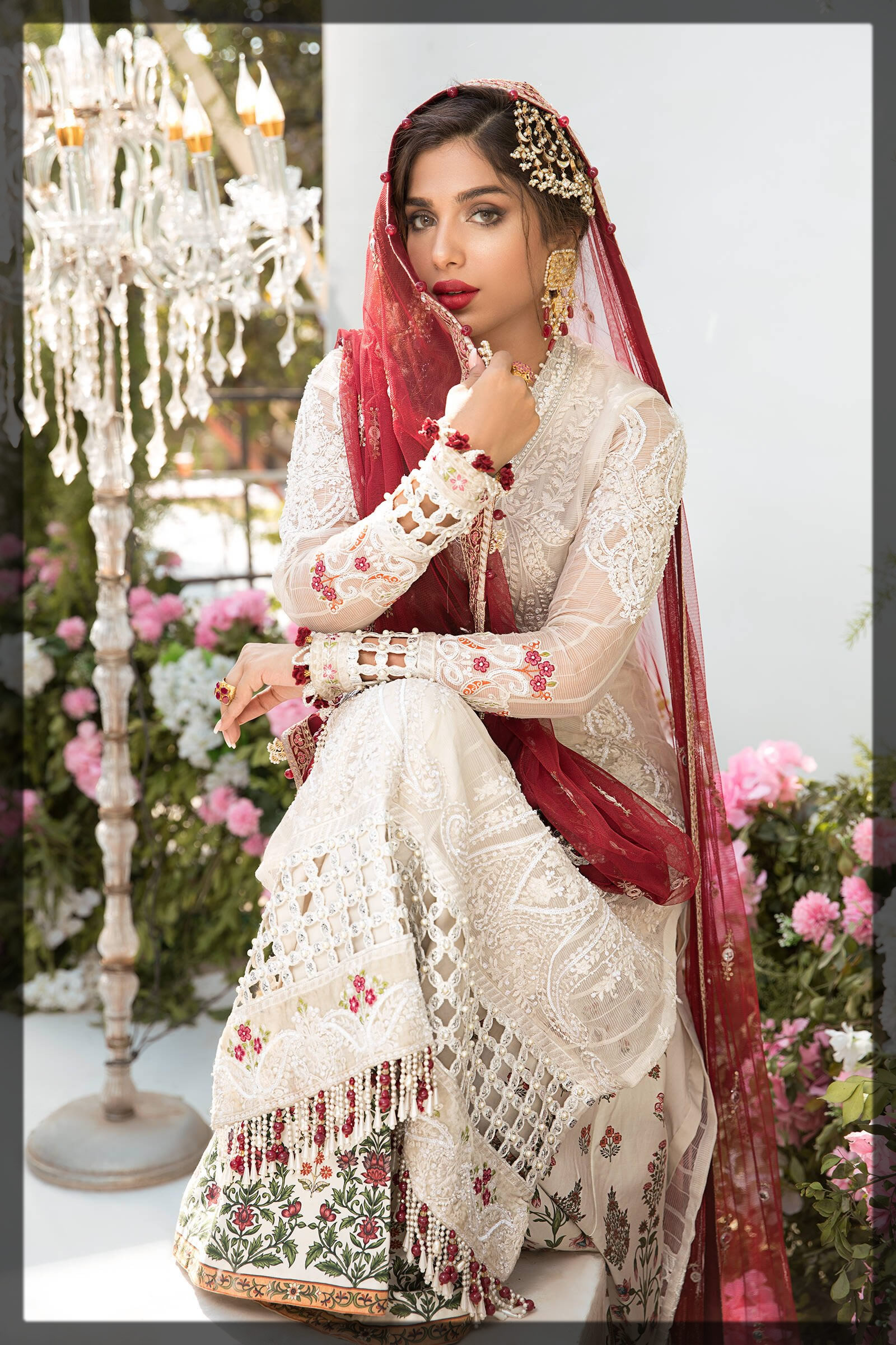 pleasant white and red eid dress