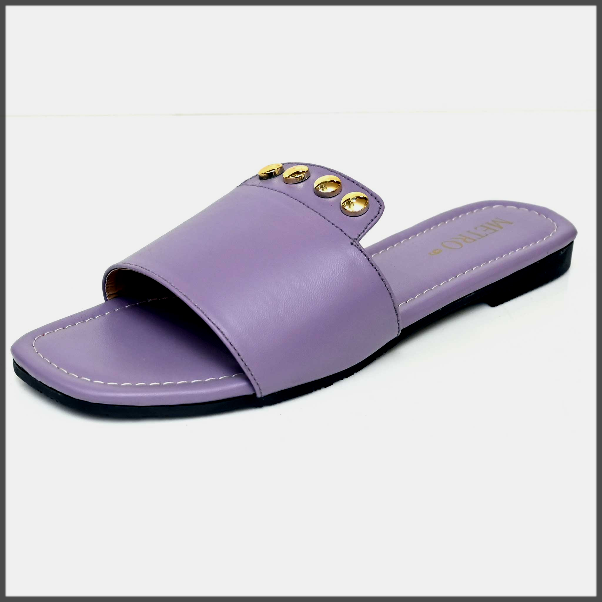 purple summer chappal by metro