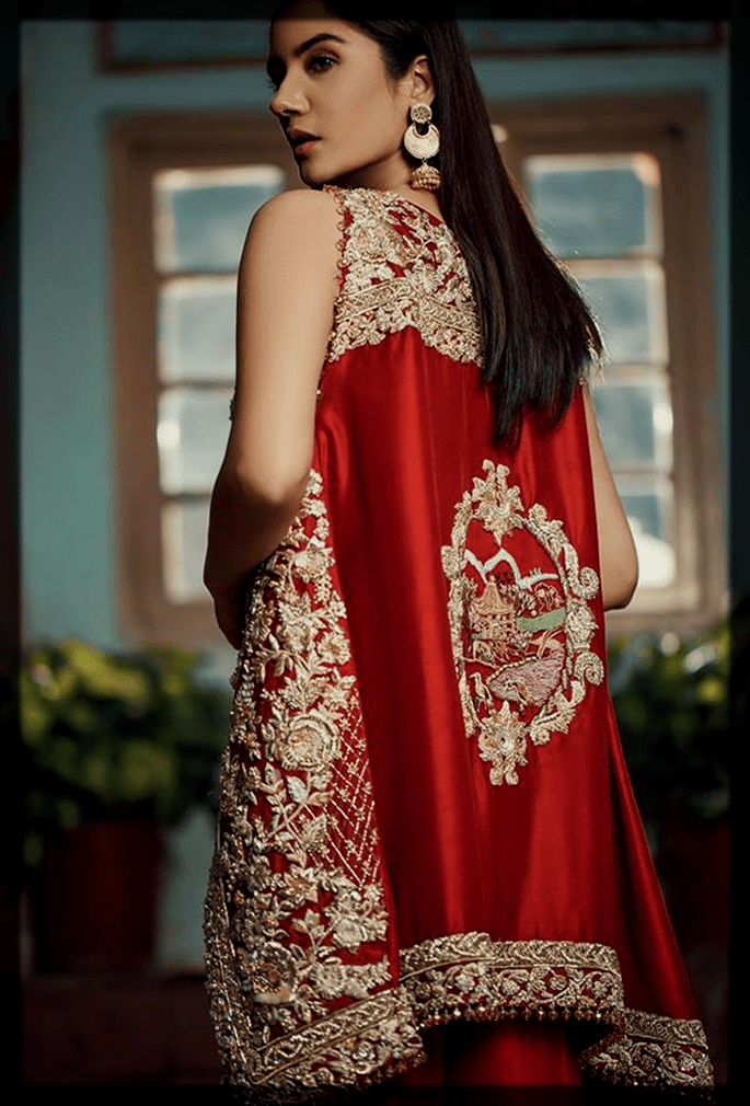 red and gold party wear dress