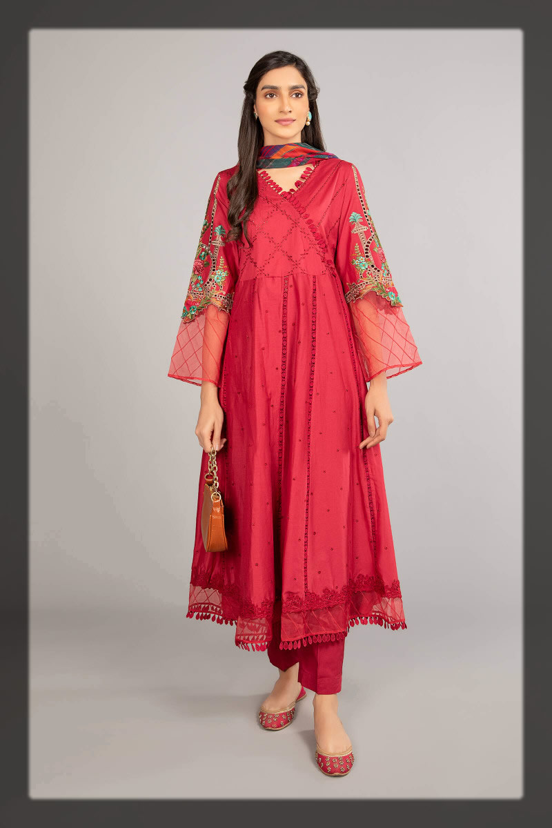 red angrakha style frock