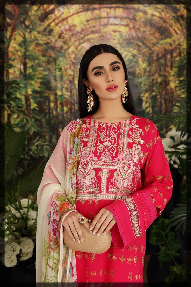 shocking pink embroidered lawn dress