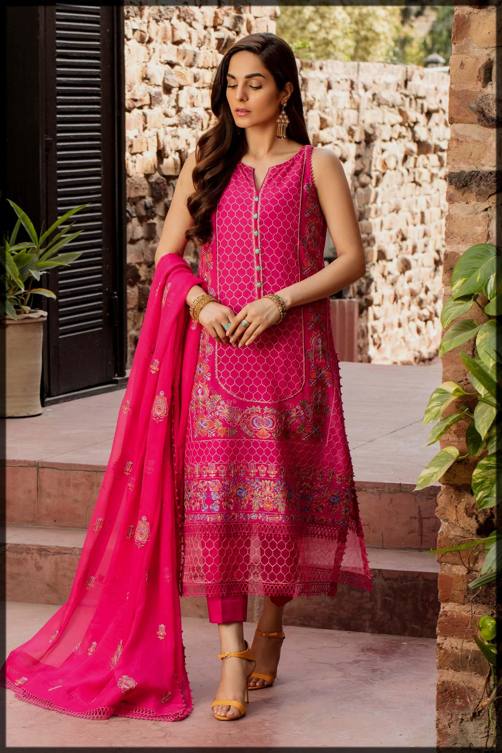shocking pink summer eid suit