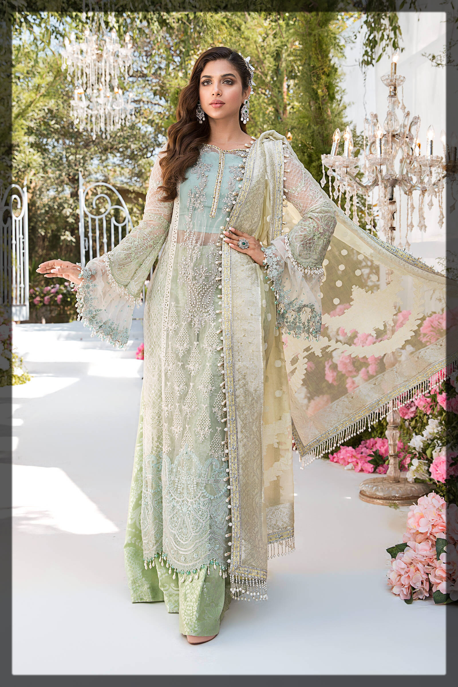 sky blue and mint eid dress