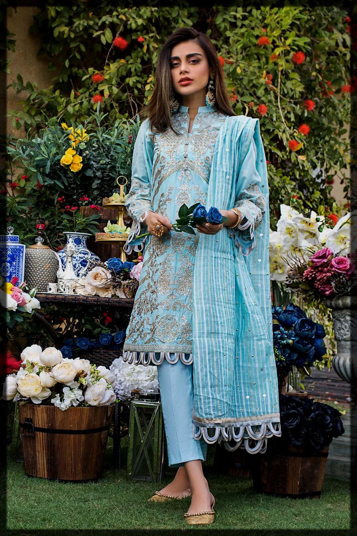 sky blue eid lawn suit