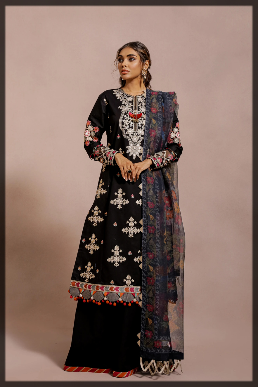 sleek black Ethnic by Outfitters eid Dresses