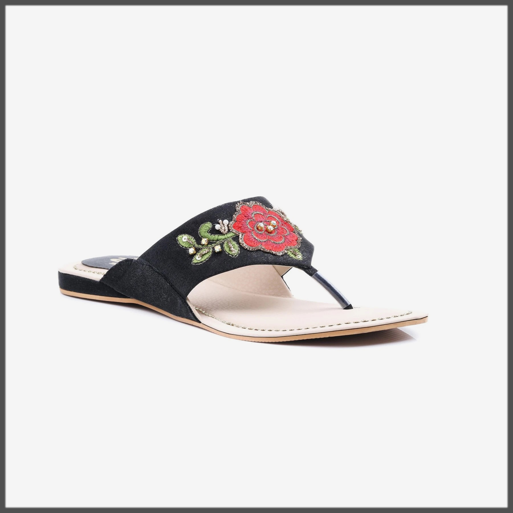 sleek black summer slipper for women