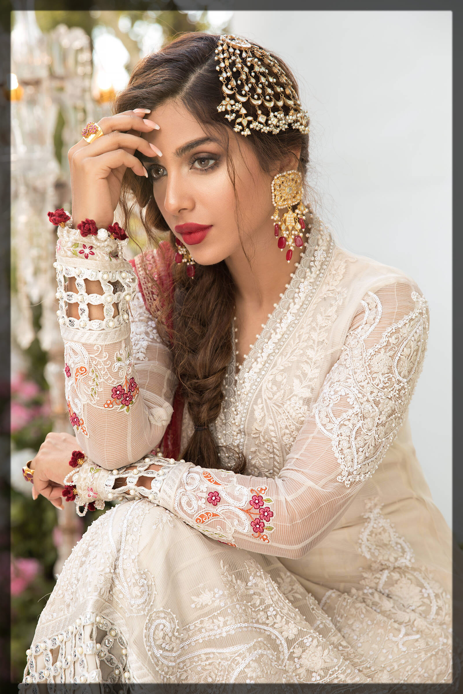splendid white and red eid dress