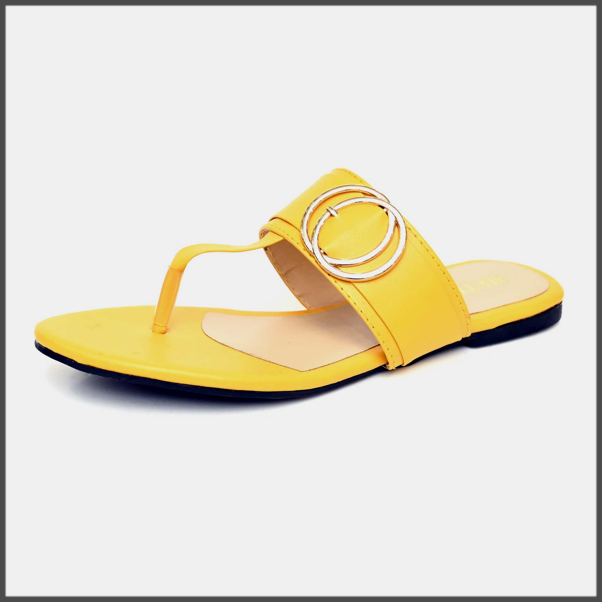stunning yellow summer chappal