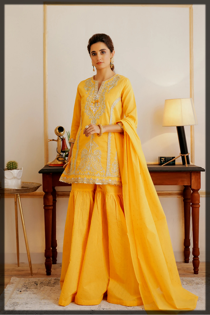 sunshine yellow summer outfit by ethnic