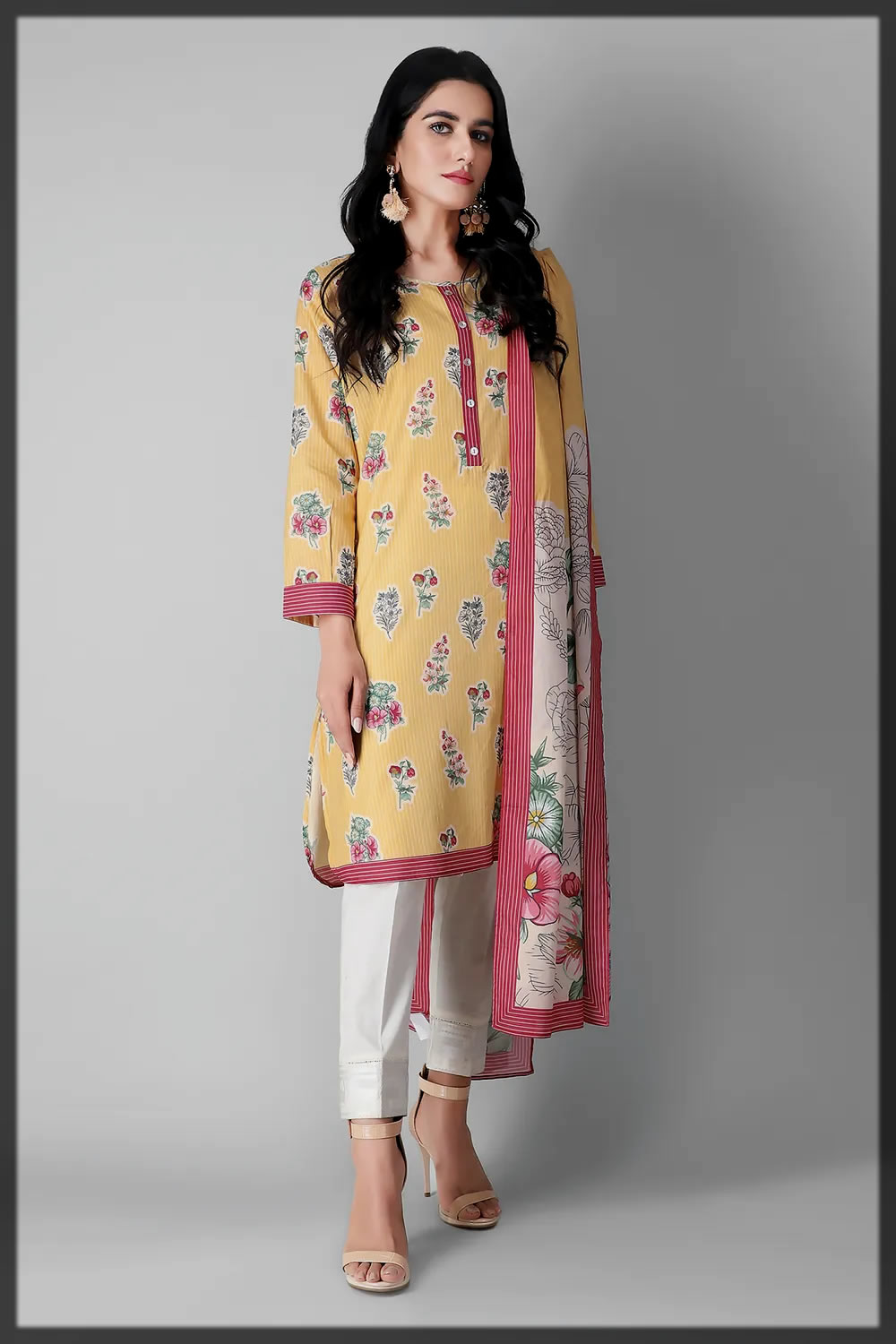 yellow and pink eid suit for ladies