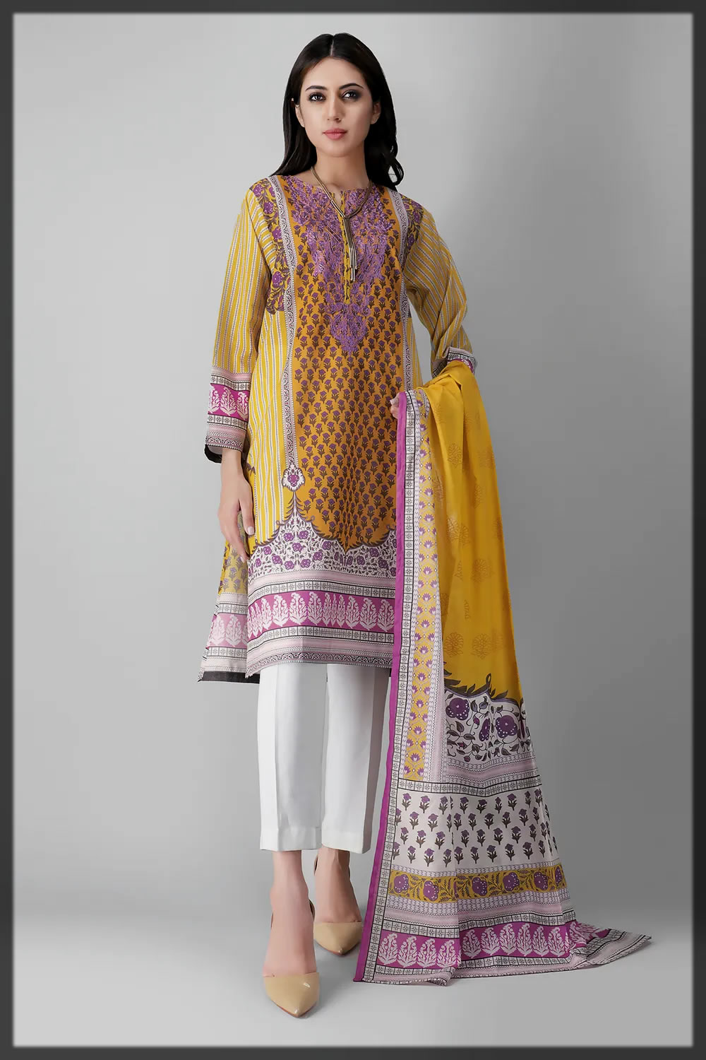 yellow and purple summer lawn suit