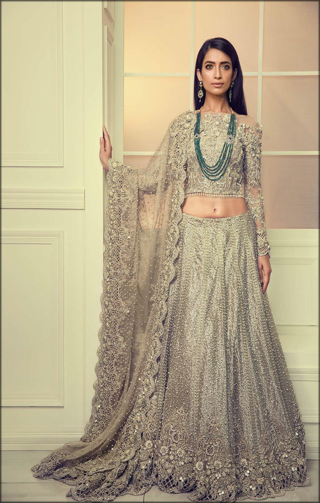 Akaroa Color Lehenga And Full Sleeves Blouse Bridal collection by Maria B