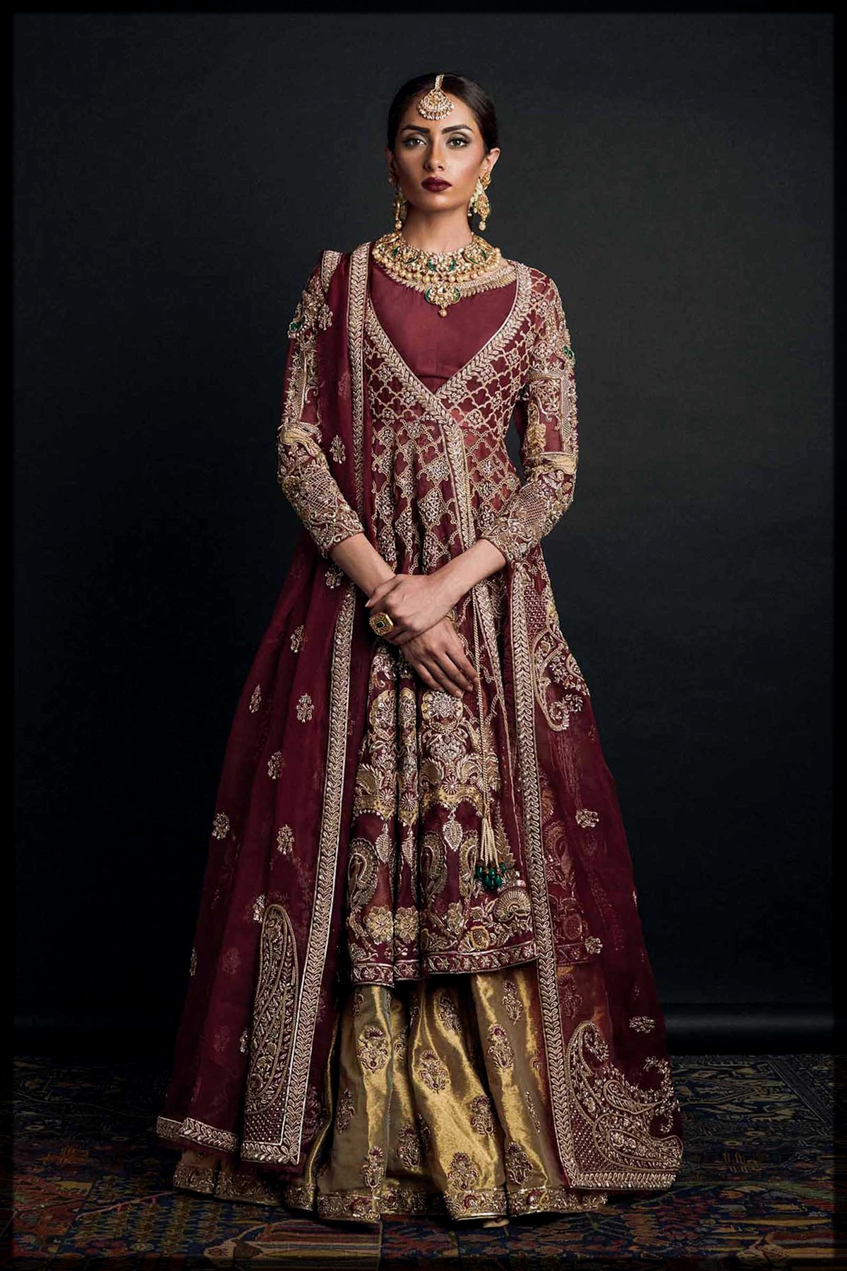 Angrakha Style Maroon Embroidered Frock and Lehenga for Barat Bride