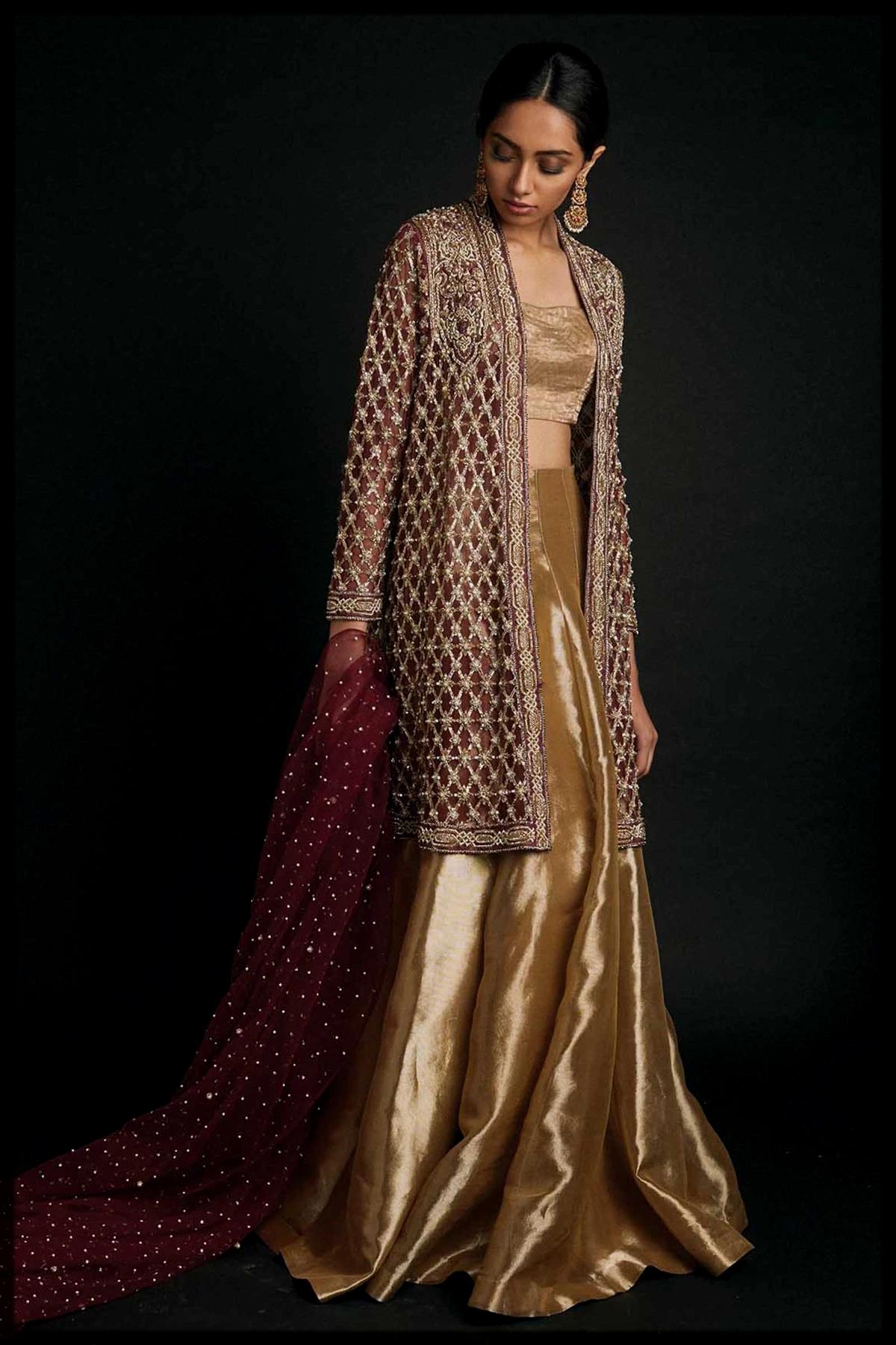 Beautiful Golden Lehenga choli with Long Maroon Jacket for Barat