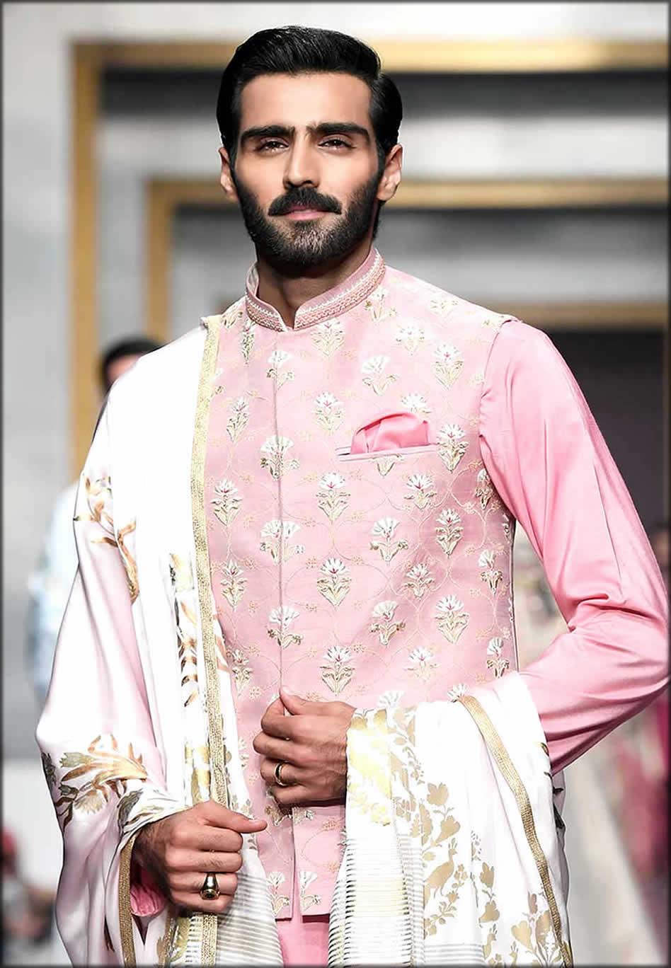 Beautiful Pink raw silk Waistcoat Suit