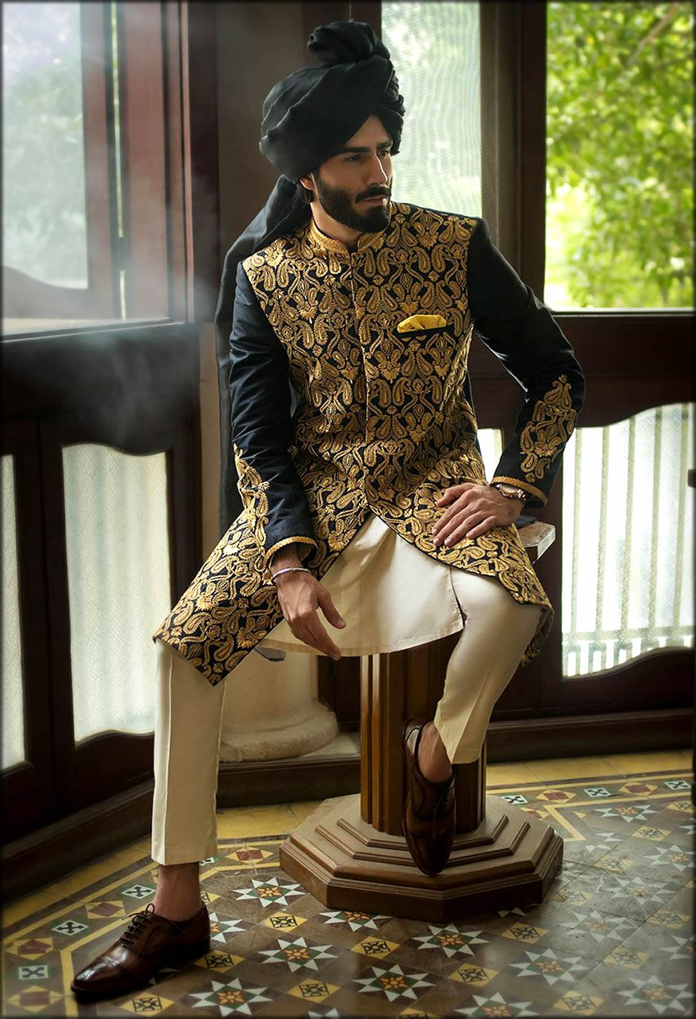 Black Silk Embroidered Sherwani