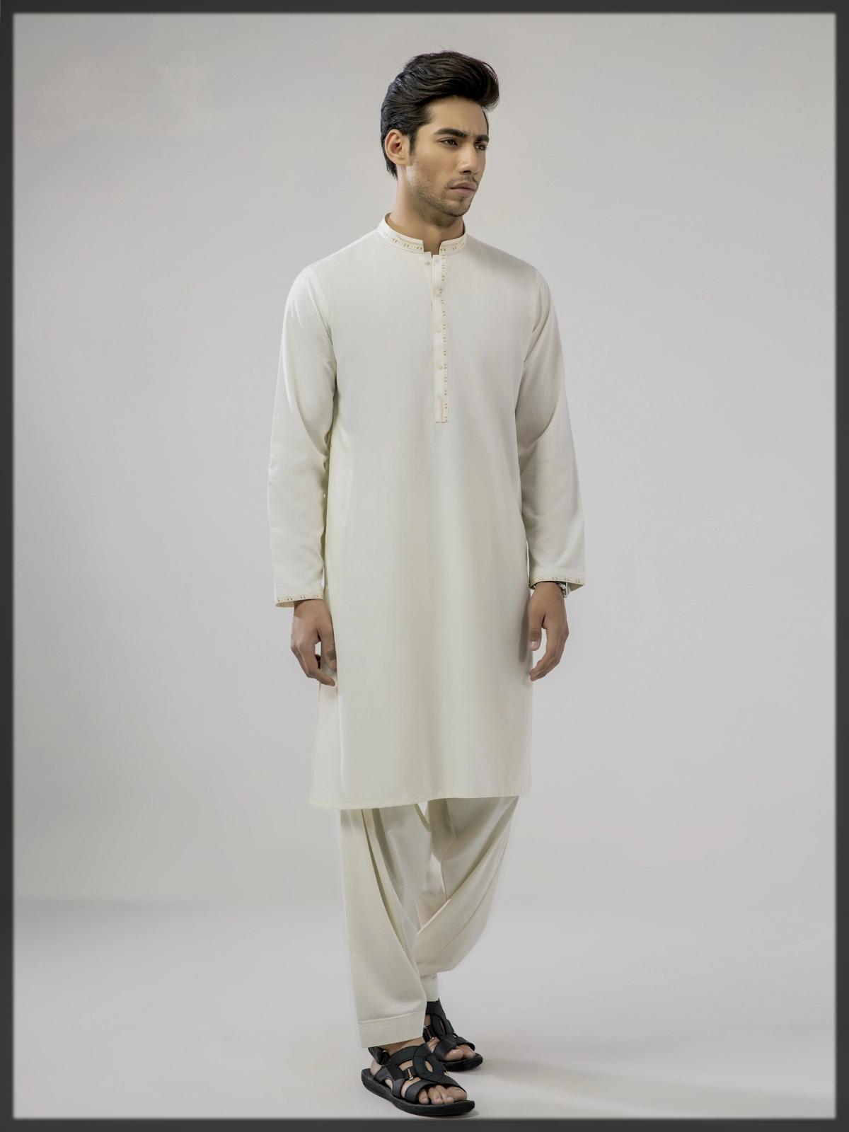 Cream summer men shalwar kameez