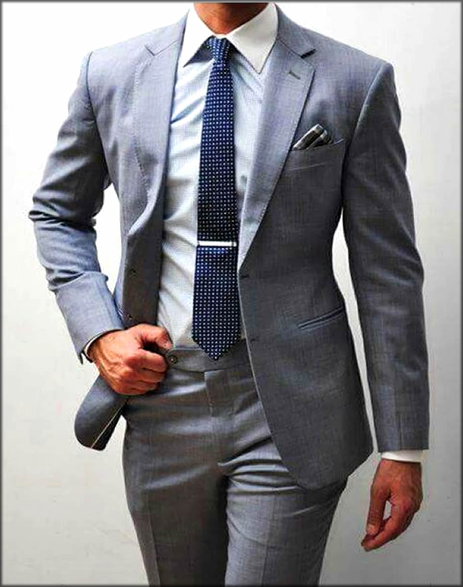 Custom Grey Groom Wear Dress