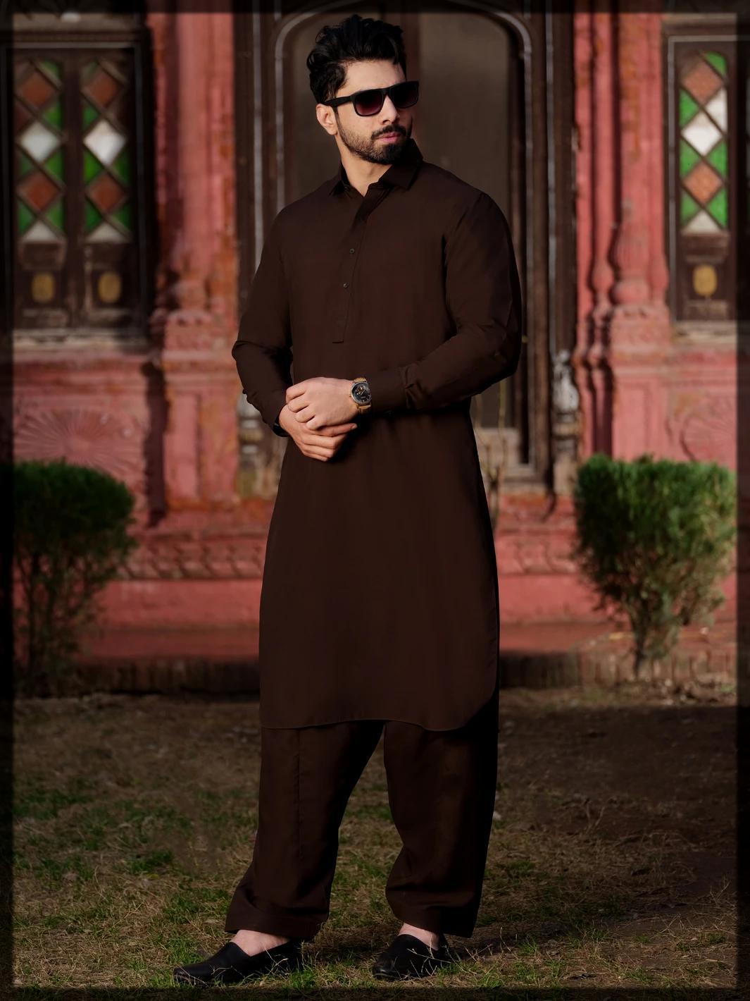 Dark Brown Blended Kameez Shalwar