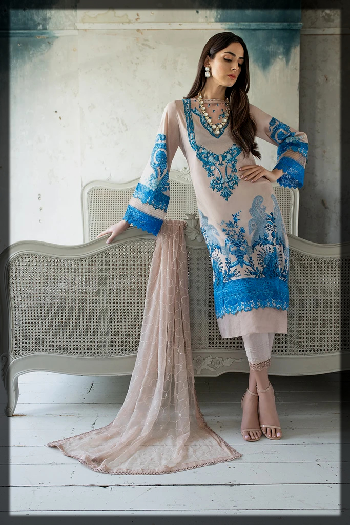 Digital Printed with Embroidered Neckline dress