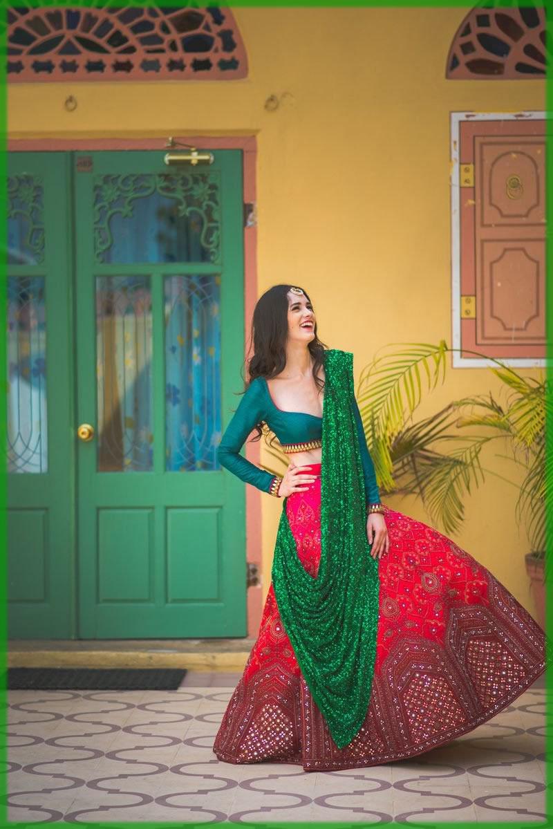 Embellished Green Sari