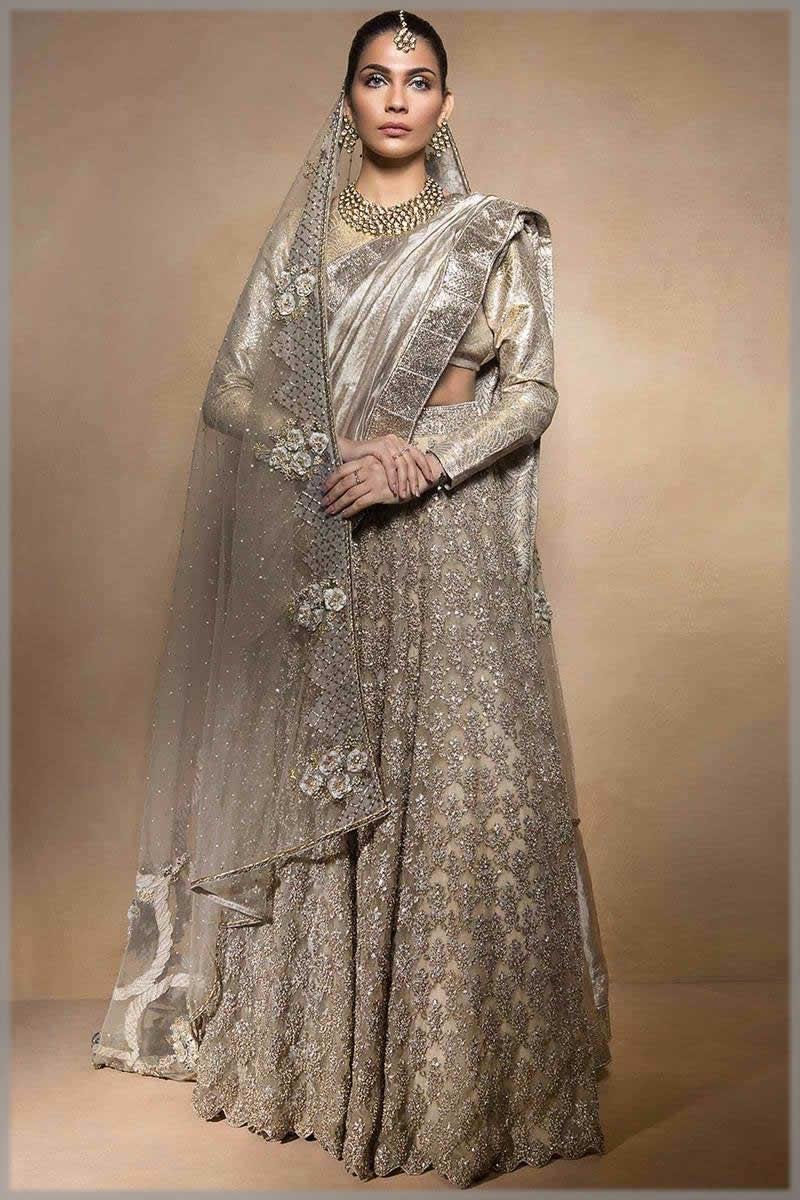 Ethnic Grey Bridal Sari