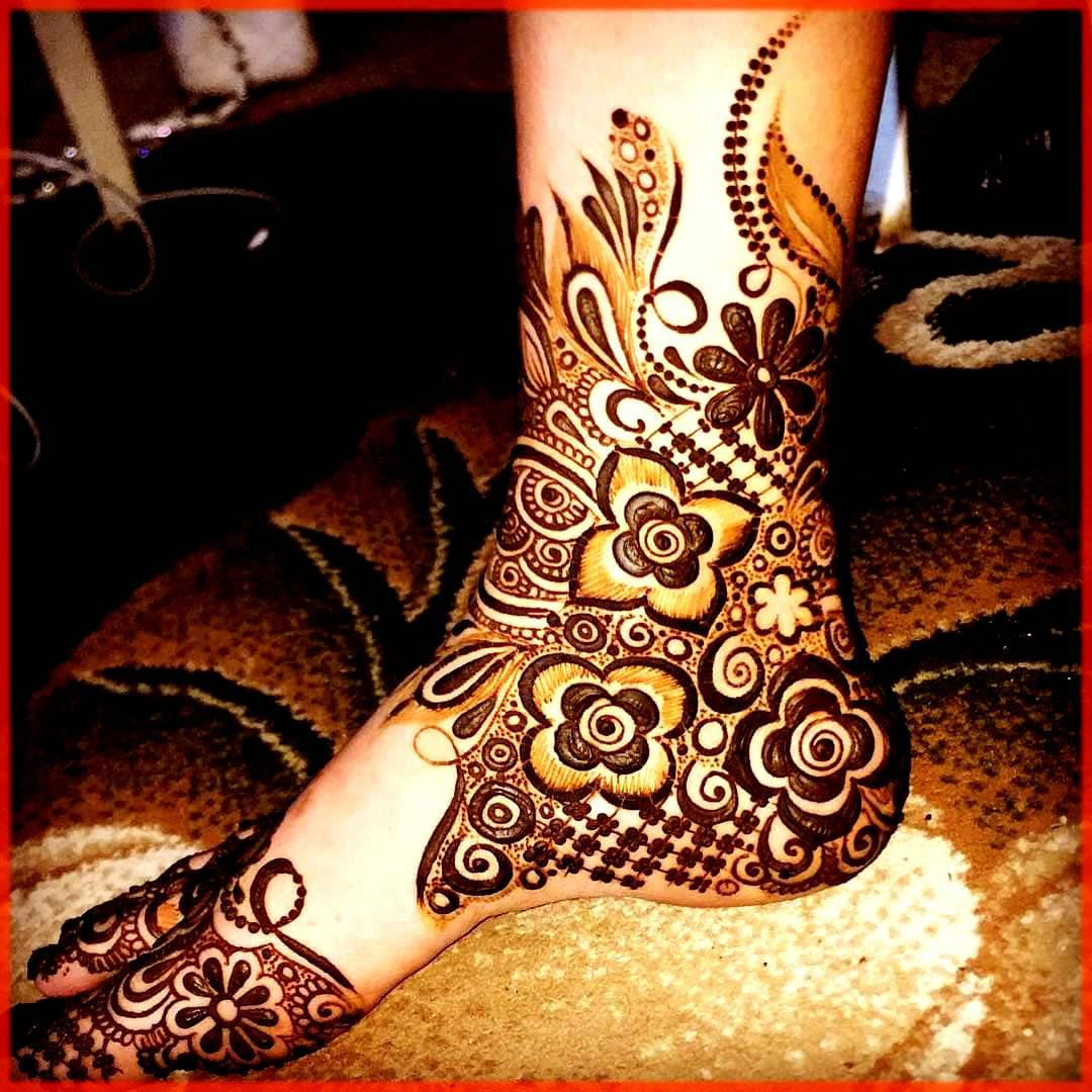Feet Floral Mehndi Design
