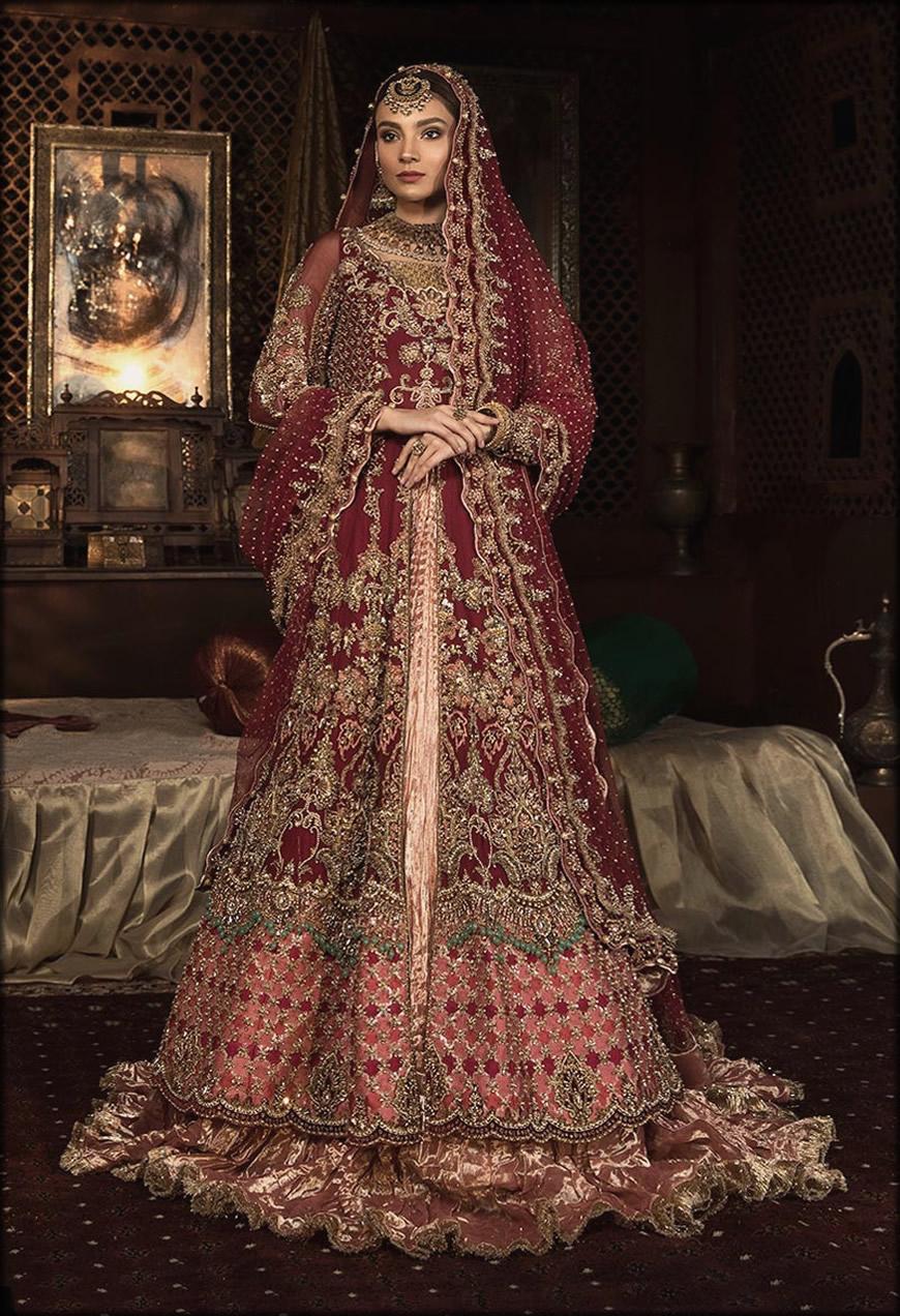 Floor Length Embroidered Pink Meroon Bridal Lehenga