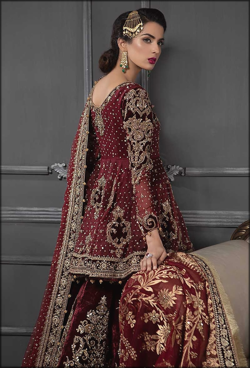 Fully Embroidered Bridal Dress By Maria B