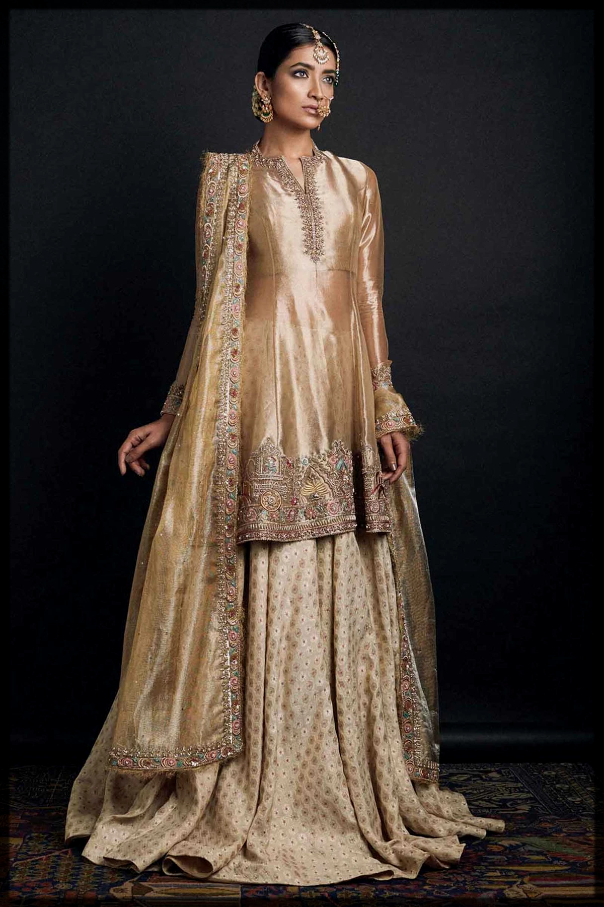 Golden Lehnga with Rusty Champagne Color A-Line Shirt