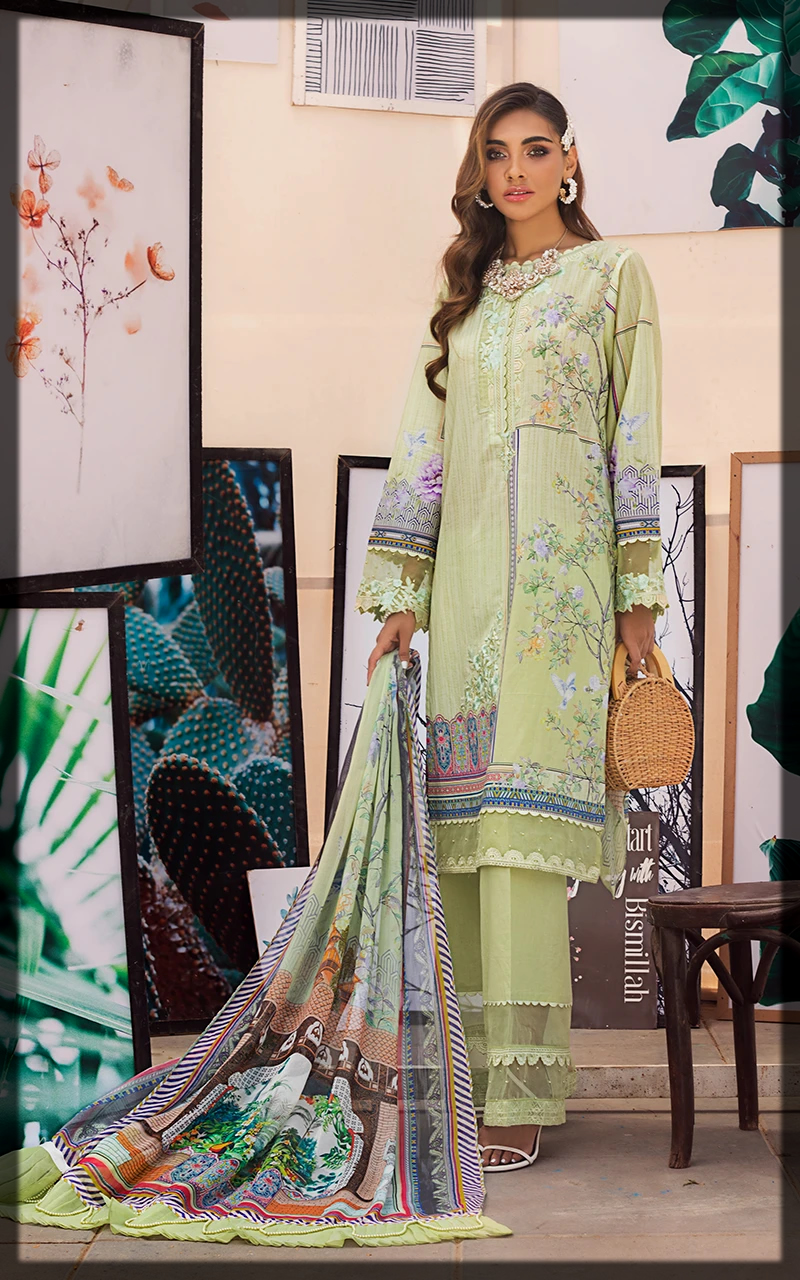 Green shaded Unstitched 3Pcs Lawn Suit