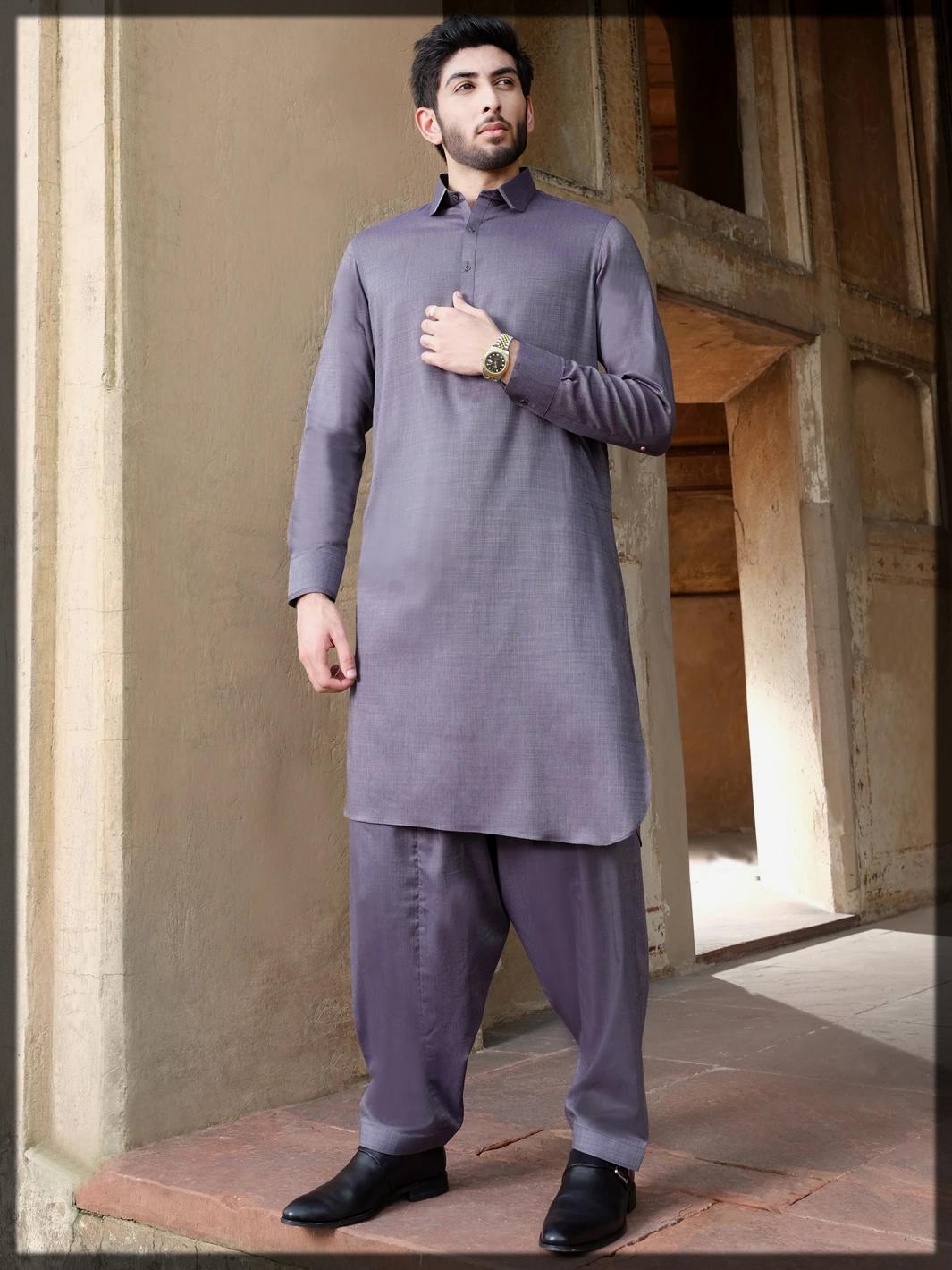 Grey Blended Kameez Shalwar