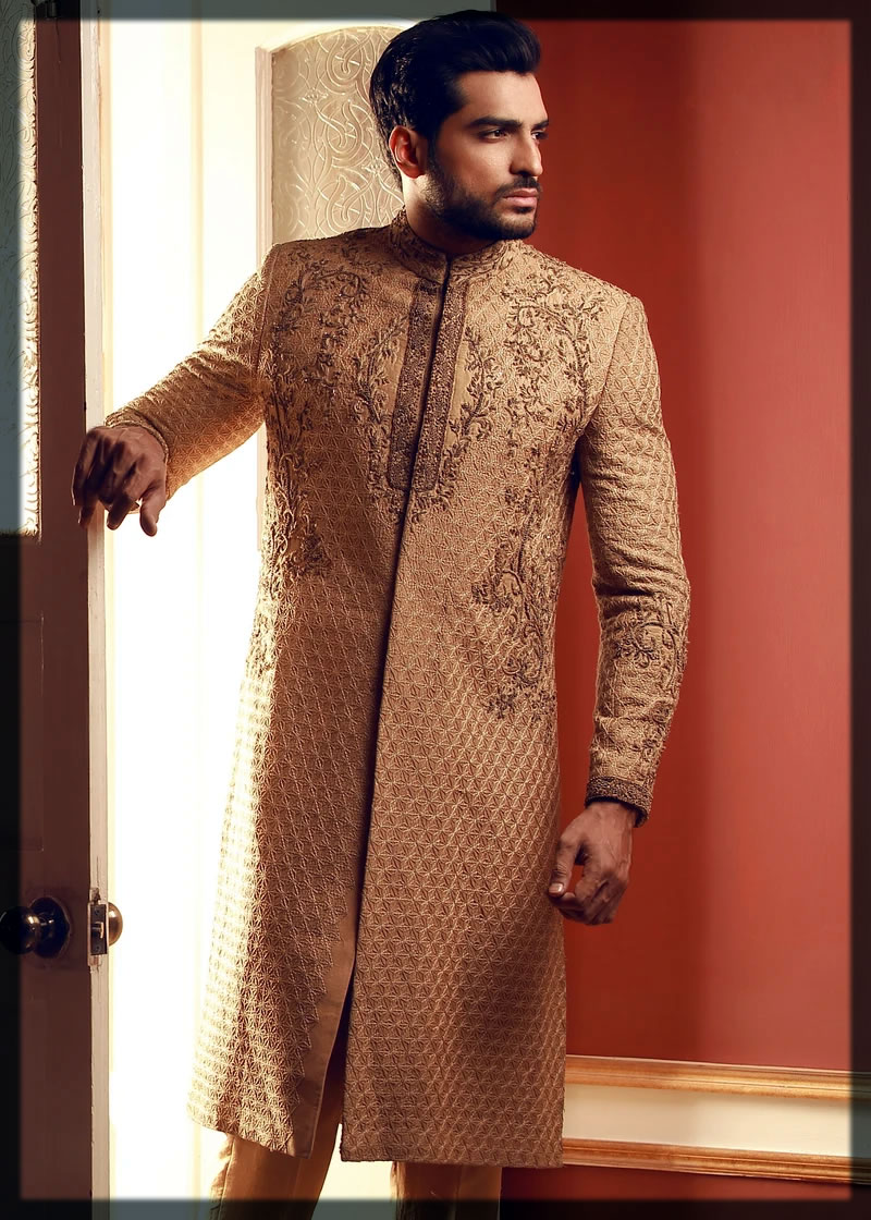 HSY Gold Embroidered Sherwani
