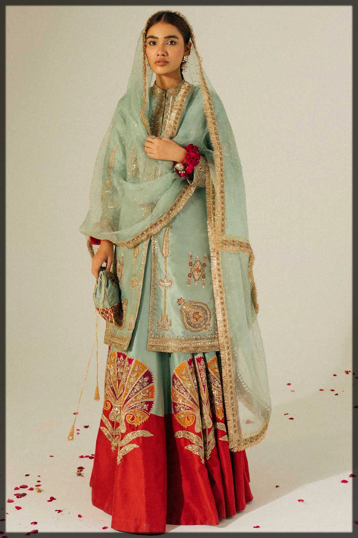 Ice Blue Front-Open Organza Shirt and Lehenga for Walima Bride