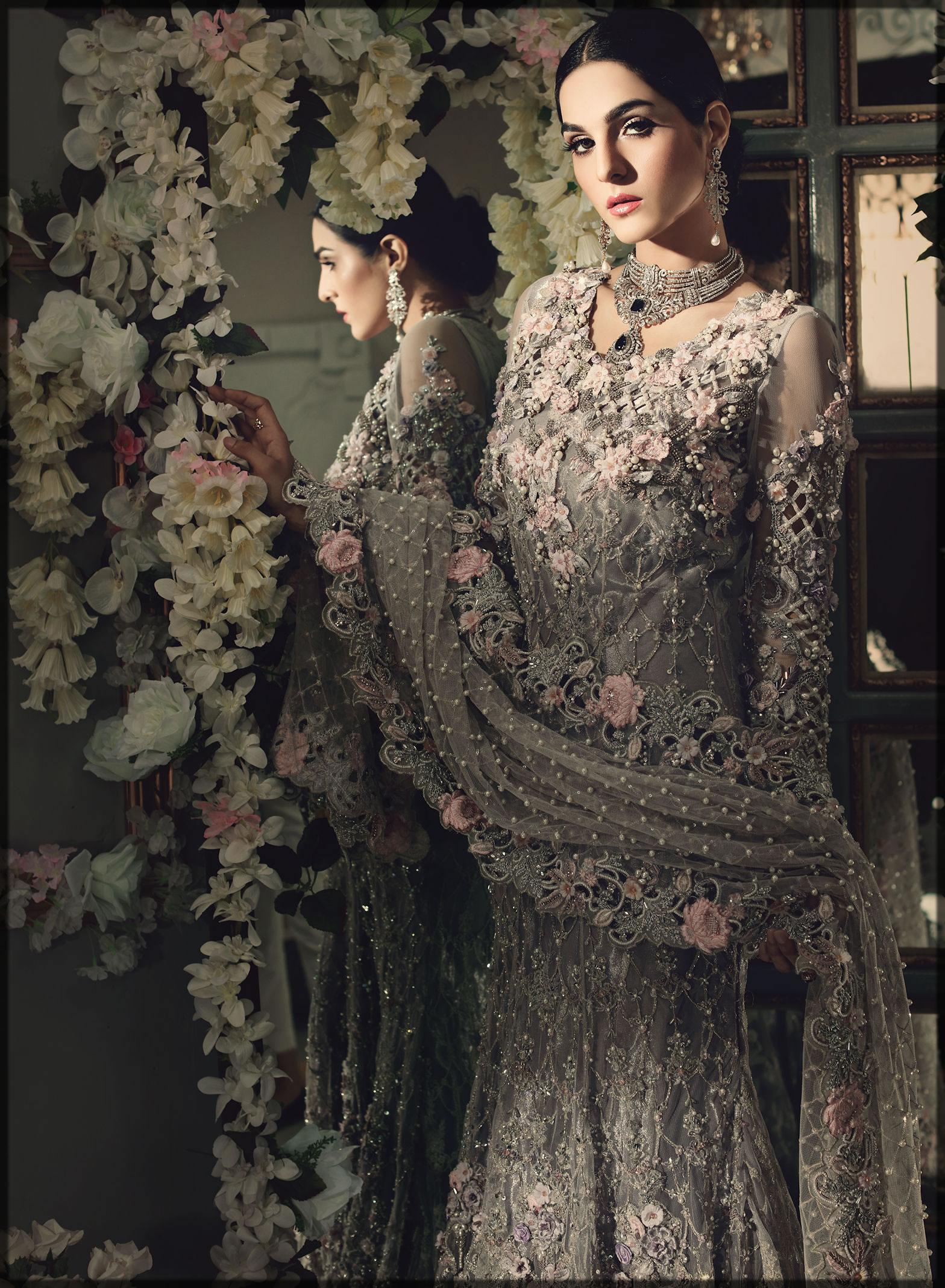 Maria B fancy silver gown