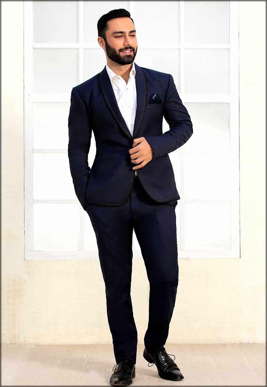 Navy Blue Stain Suit