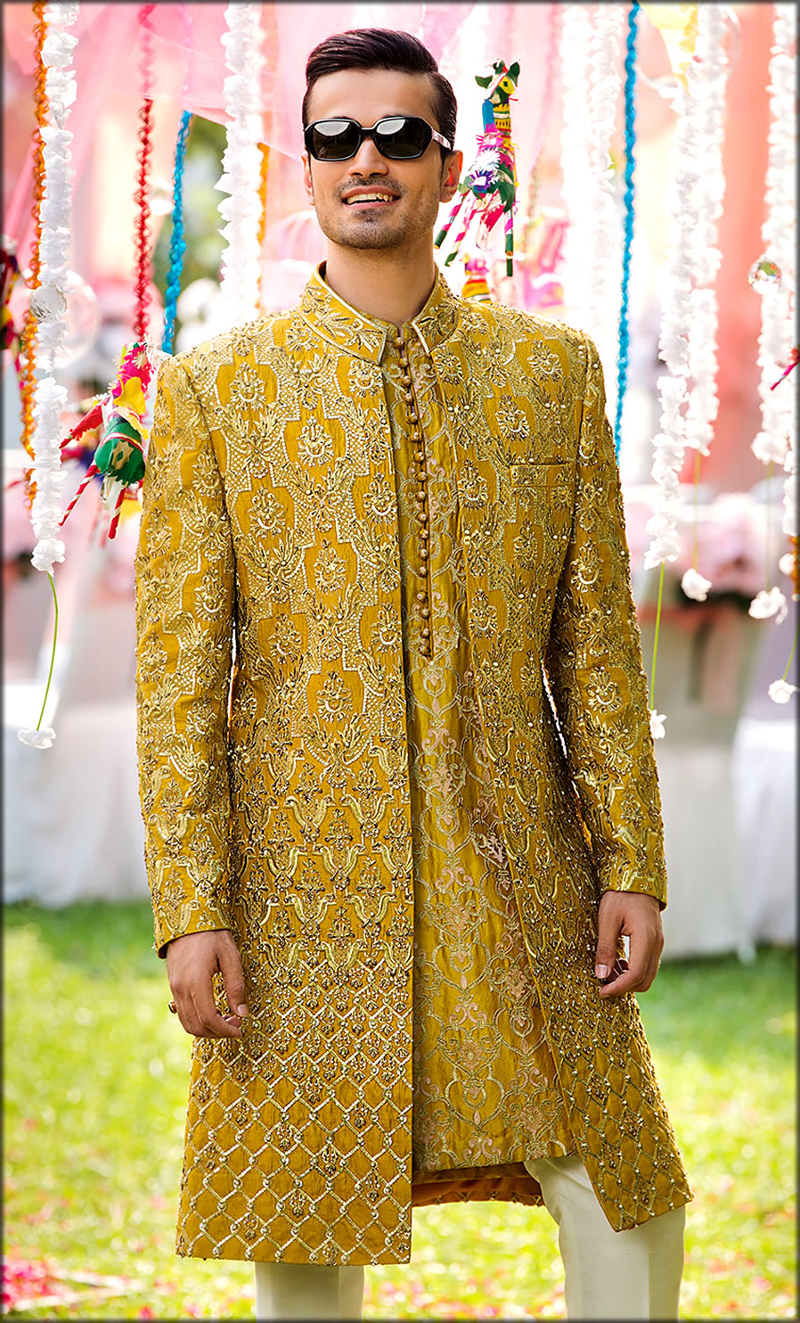 Ochre Fully Embalished Sherwani