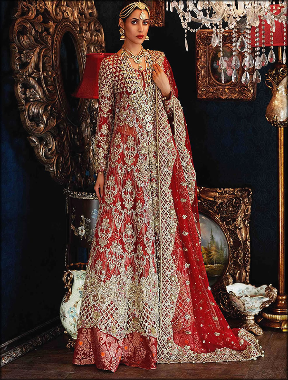 Old Rose Jall And Cut Work Bridal Collection by Maria b