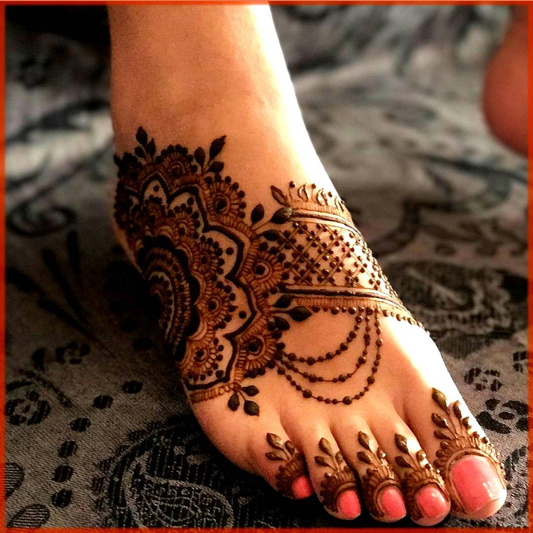 Paisley Floral Mehndi Design For Feet