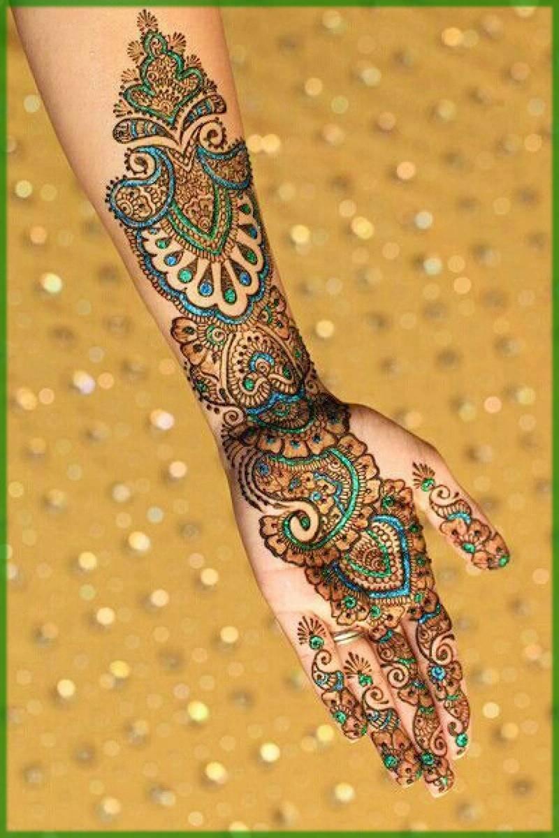 Peacock Glitter Mehndi